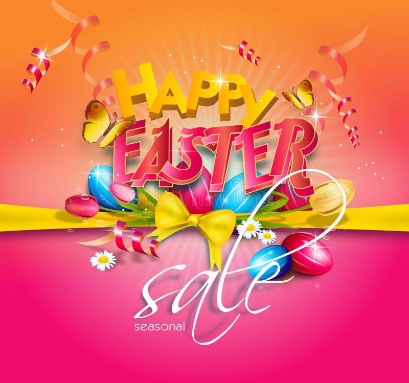 Wielkanocny tło dekorujący z Easter jajkami royalty ilustracja