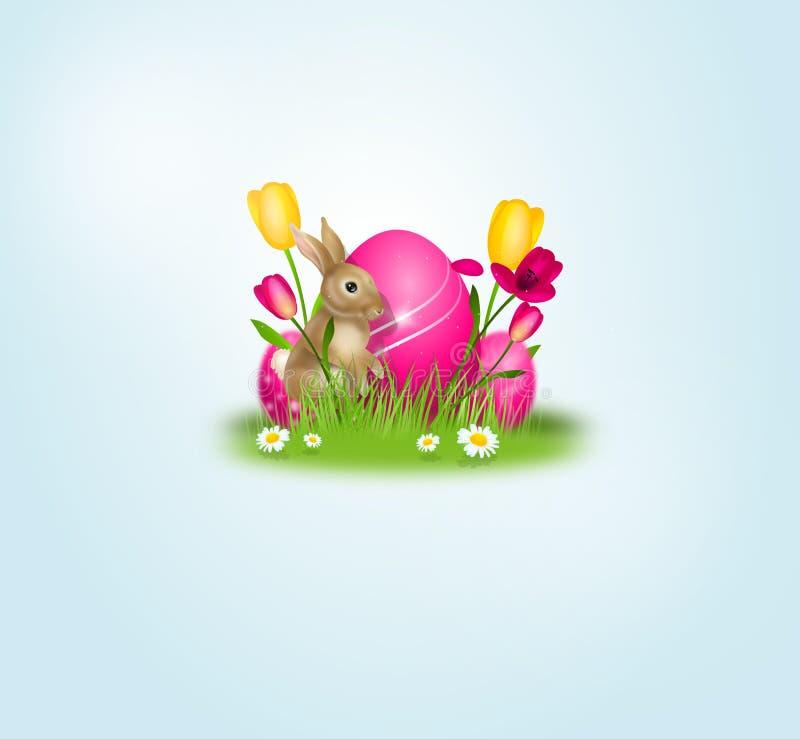 Wielkanocny tło dekorujący z Easter jajkiem ilustracja wektor