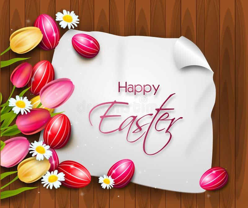 Wielkanocny tło z Easter tulipanami i jajkami royalty ilustracja