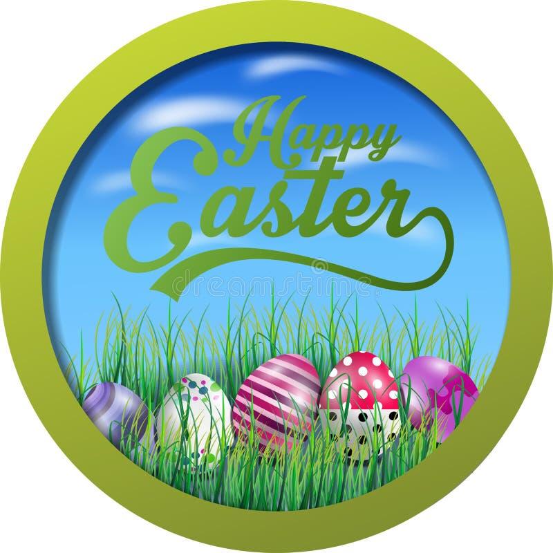 Wielkanocny tło z jajkami w trawie na round ramie ilustracja wektor