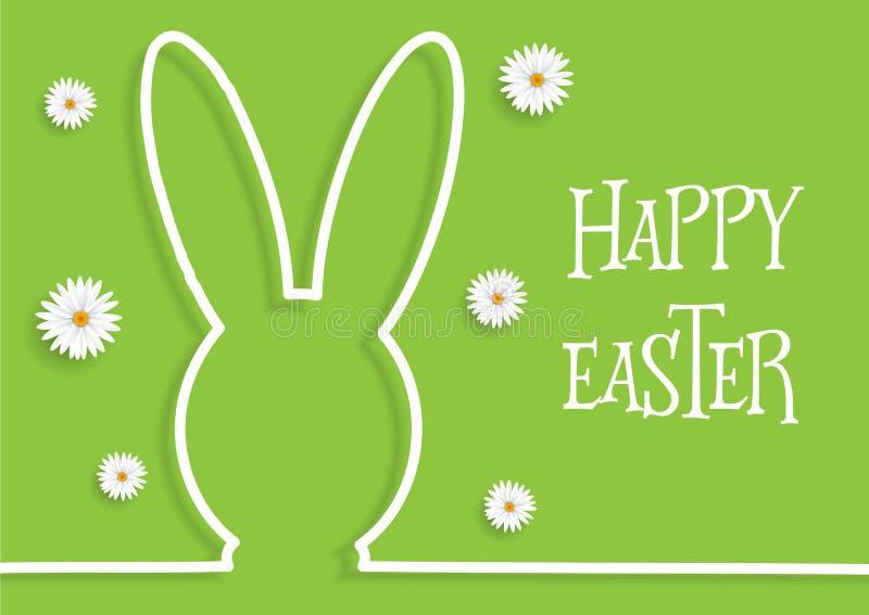 Wielkanocny tło z królik stokrotkami i konturem royalty ilustracja