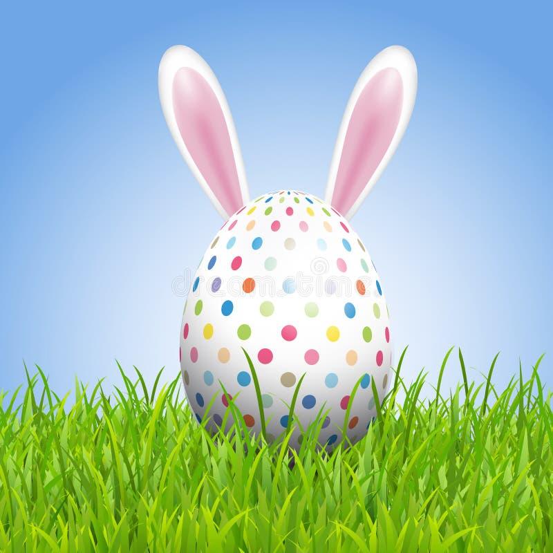 Wielkanocny tło z królika jajkiem w trawie i ucho ilustracja wektor