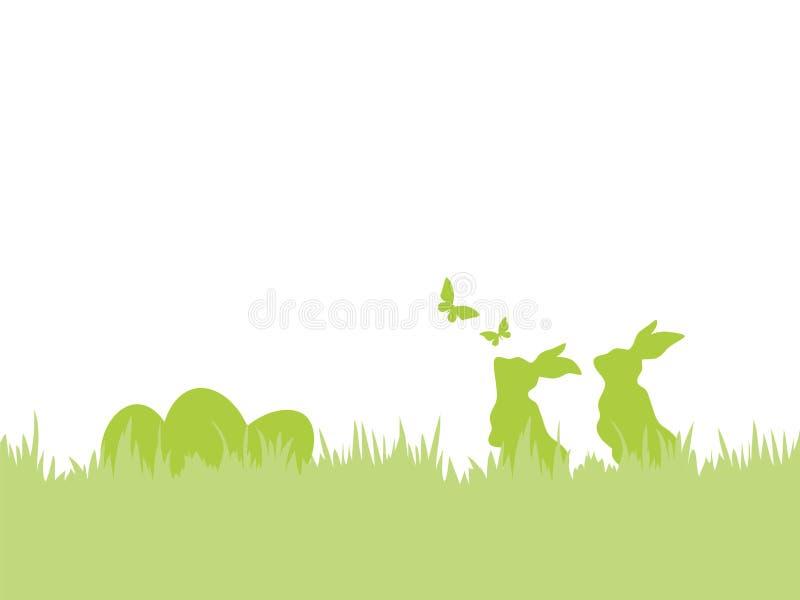 Wielkanocny tło z królikami, jajkami i motylami Easter, royalty ilustracja