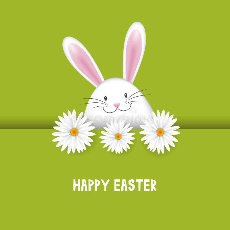 Wielkanocny tło z królikiem i stokrotkami royalty ilustracja