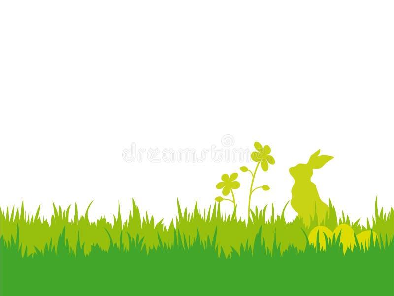 Wielkanocny tło z królikiem, jajkami i kwiatami, ilustracji