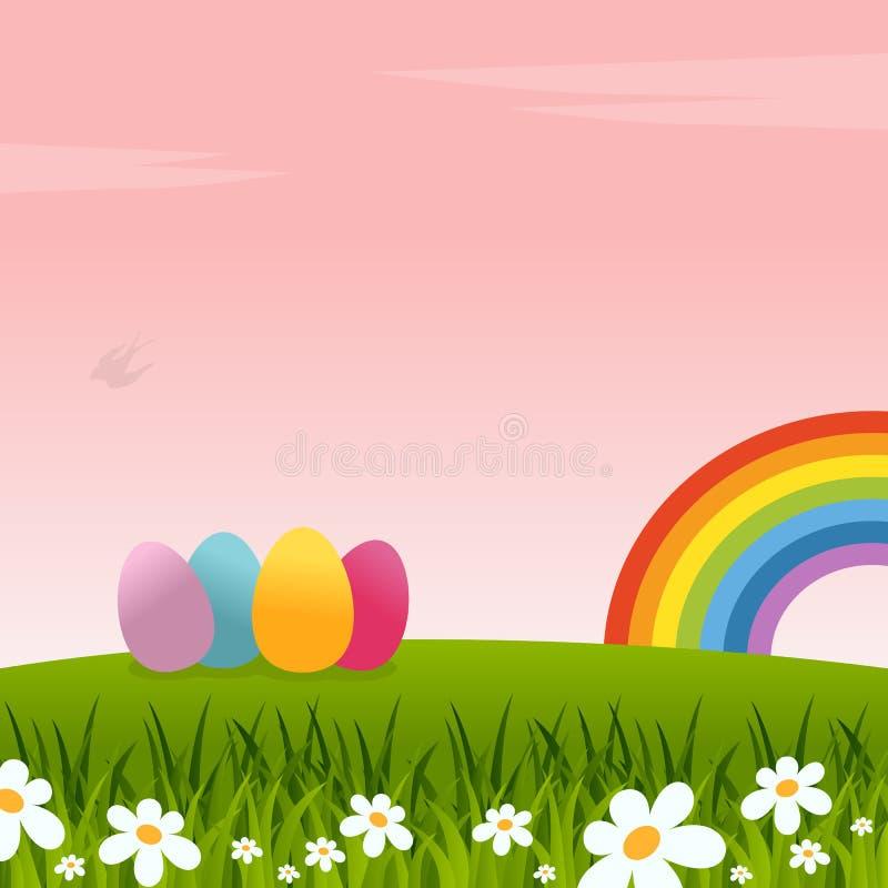 Wielkanocny tło z tęczą i jajkami royalty ilustracja