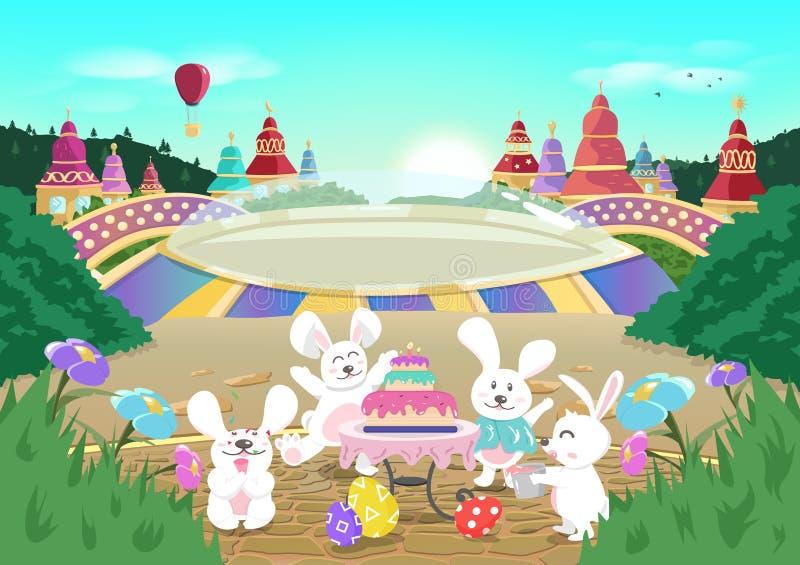 Wielkanocny urodziny, świętowanie partyjny sezonowy wakacyjny plakat, śliczny kreskówka królik, bajki fantazji tła wektoru ilustr royalty ilustracja