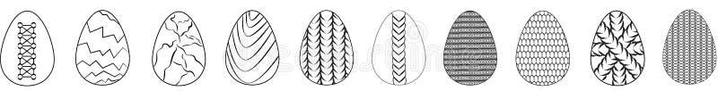 Wielkanocny ustawiający płaskie jajeczne ikony odizolowywać na białym tle royalty ilustracja