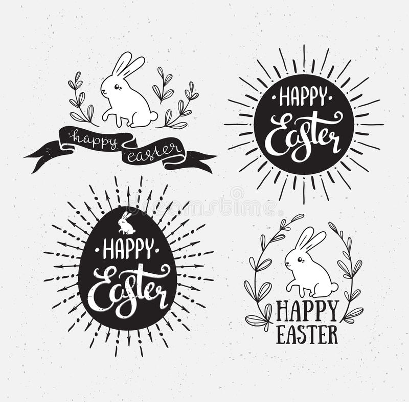 Wielkanocny ustawiający z literowaniem, sunburst i królikiem, również zwrócić corel ilustracji wektora Szczęśliwi Wielkanocni kar royalty ilustracja