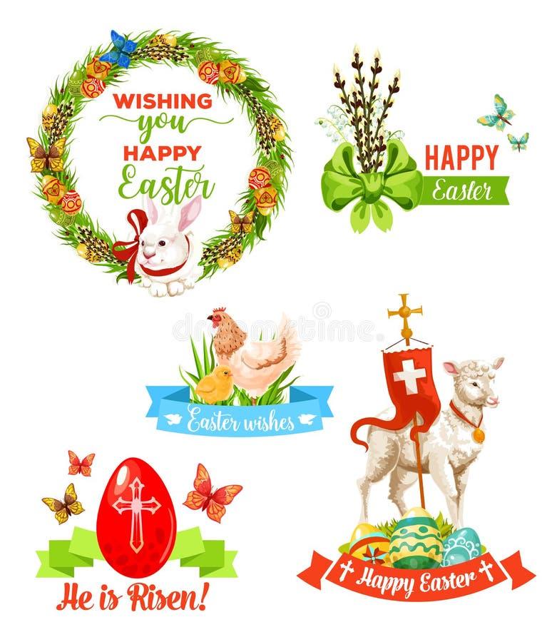 Wielkanocny wakacje życzy kreskówka emblemata set