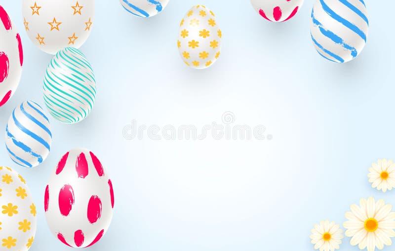 Wielkanocny wakacyjny tło z 3d Easter jajkami ilustracji