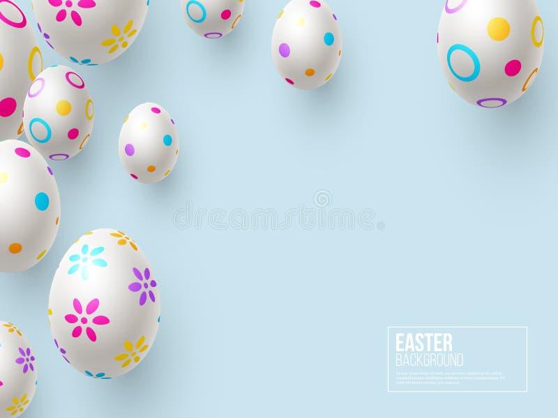 Wielkanocny wakacyjny tło z 3d malującymi jajkami ilustracja wektor