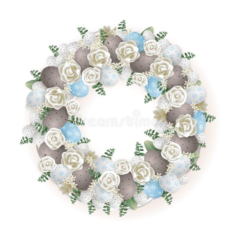 Wielkanocny wianek błękitny szary biel i zielony kolor - elegancki dekorujący z przepiórek jajkami kwitnie i liście - ilustracji