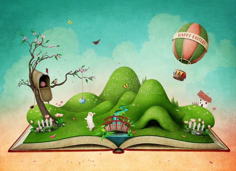 Wielkanocny wiosna krajobraz na książce royalty ilustracja