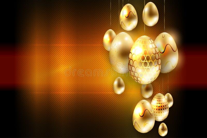 Wielkanocny wyśmienity textural skład z różnorodność złotymi jajkami na breloczkach, ilustracji
