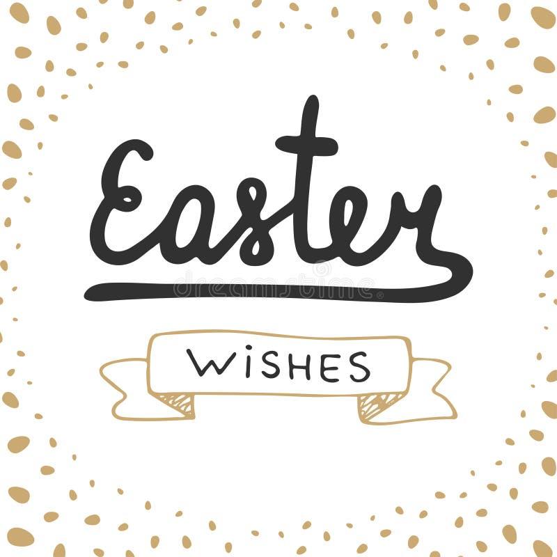 Wielkanocnych życzeń typografii projekta wektorowi elementy dla kartka z pozdrowieniami, zaproszenia, druków i plakatów, royalty ilustracja