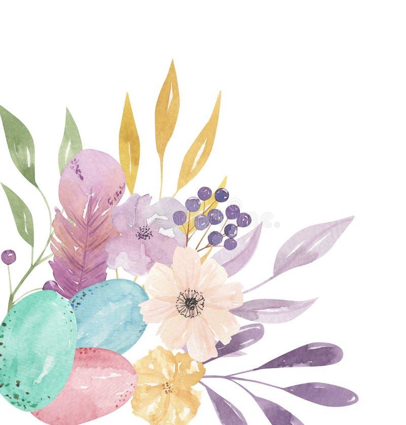 Wielkanocnych jajek kąta ramy akwareli piórka wiosny liści Pastelowe menchie Kwieciste royalty ilustracja