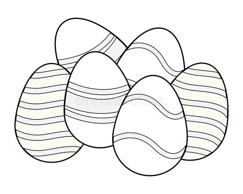 Wielkanocnych jajek kolorowy maluj?cy czarny i bia?y ilustracja wektor