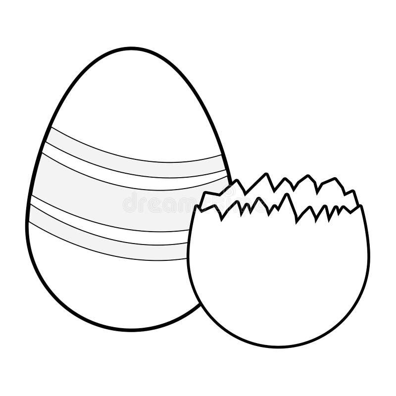 Wielkanocnych jajek kolorowy maluj?cy czarny i bia?y ilustracji