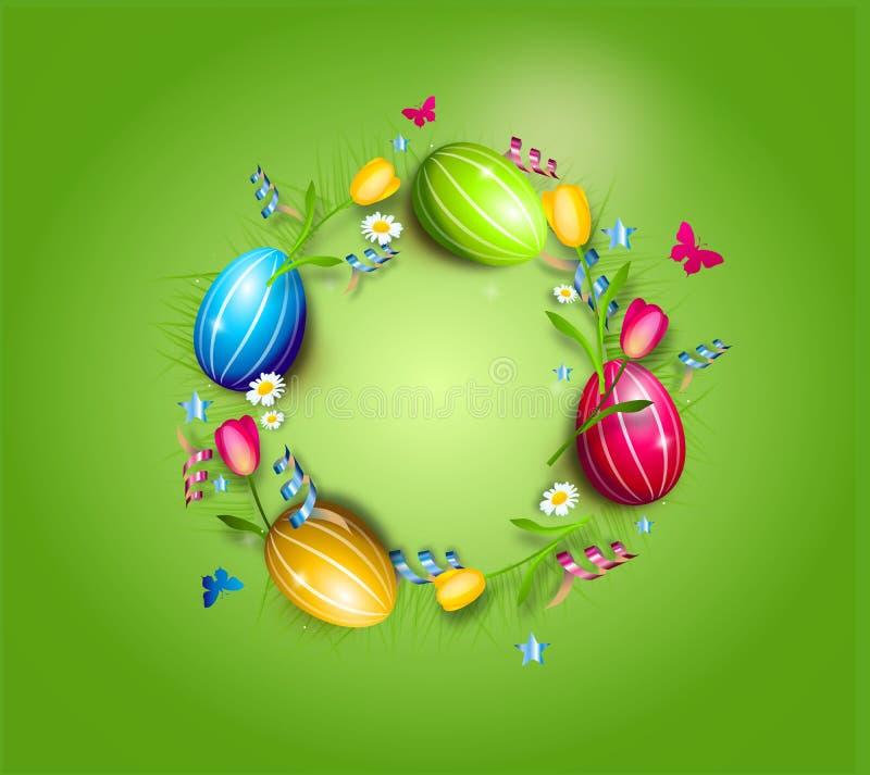 Wielkanocnych jajek okręgu tło ilustracja wektor