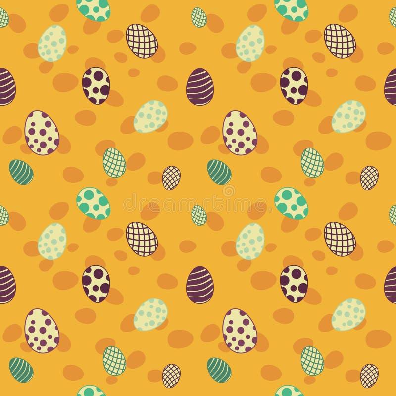 Wielkanocnych jajek projekta wzoru bezszwowy kolor żółty obraz stock