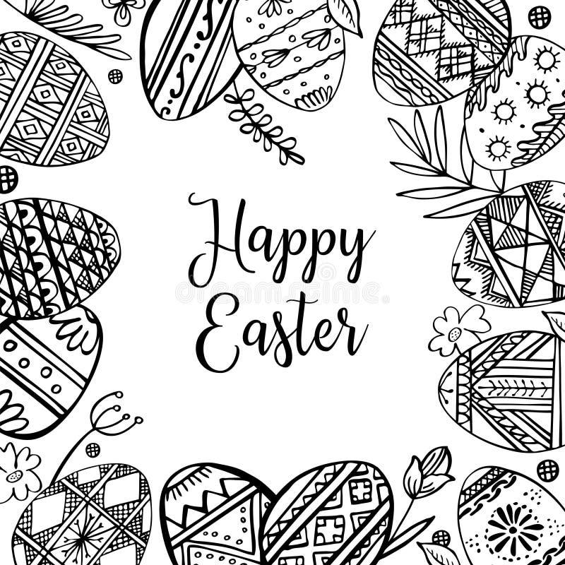 Wielkanocnych jajek rama z roślinami i powitaniem Ręka rysująca konturu atramentu nakreślenia wektorowa ilustracja Jajka malujący ilustracji