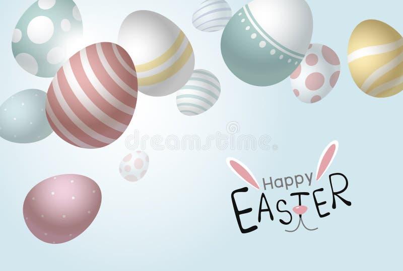Wielkanocnych jajek spada tło z odbitkową astronautycznego wektoru ilustracją