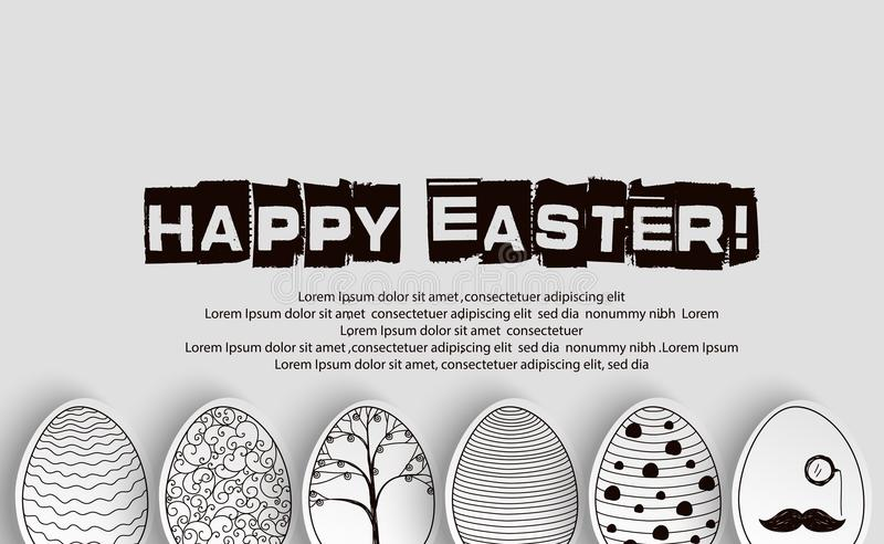 Wielkanocnych jajek tło z deseniową kolorystyki książką na czarny i biały ilustracja wektor