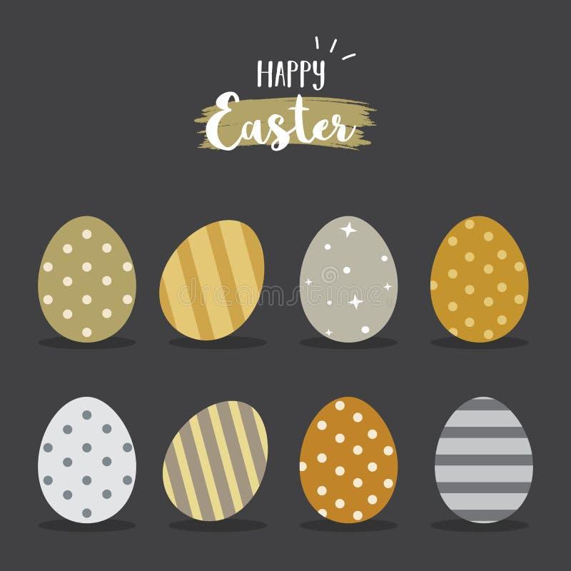 Wielkanocnych jajek wektoru ilustracja Szczęśliwy Wielkanocny dzień z złotymi srebnymi colour jajkami dla Wielkanocnej wakacje za ilustracja wektor