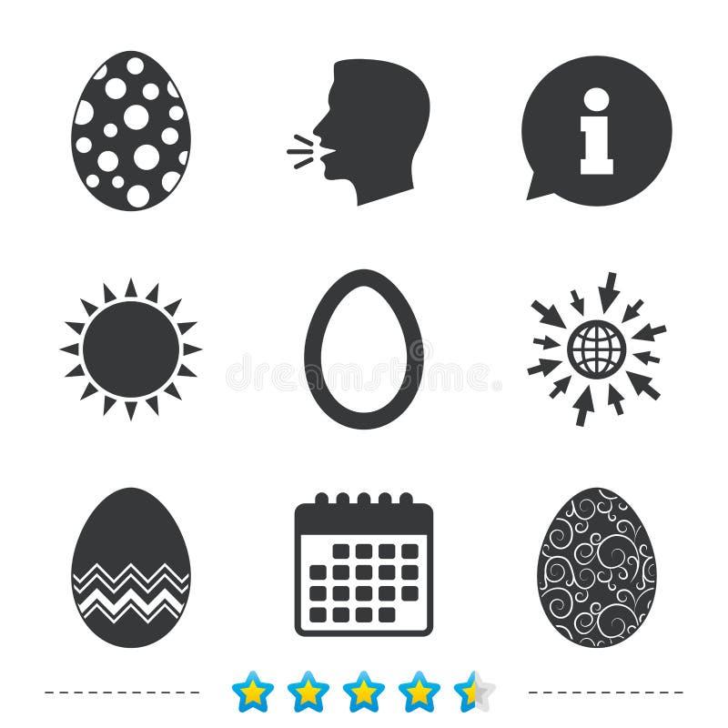 Wielkanocnych jajek znaki Okręgi i kwieciści wzory royalty ilustracja