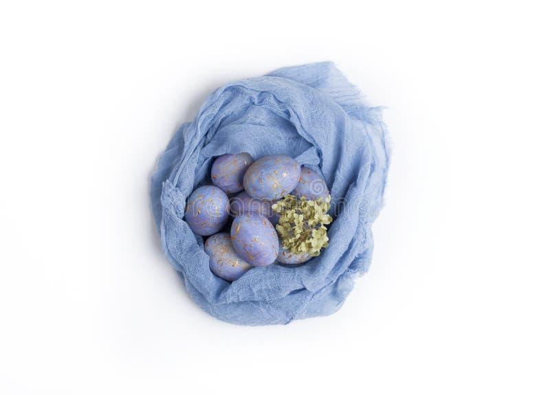 Wielkanocy cętkowani błękitni jajka w gniazdeczku obraz royalty free