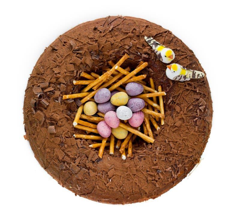 Wielkanocy gniazdeczka tort odizolowywający obraz stock