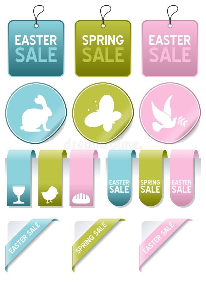 Wielkanocy lub wiosny sprzedaży elementy Ustawiający royalty ilustracja