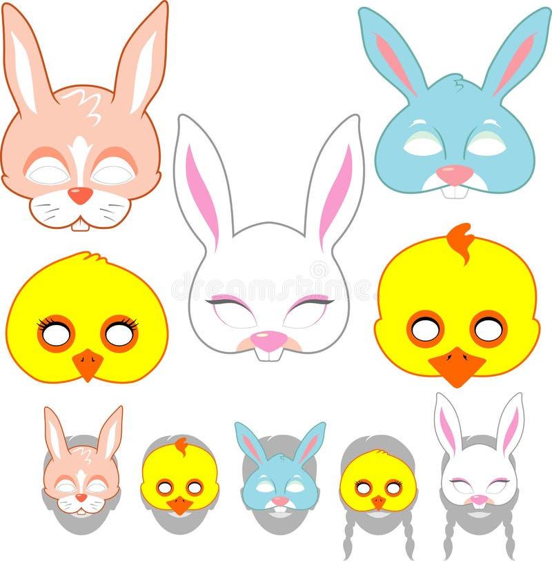 Wielkanocy maski set ilustracji