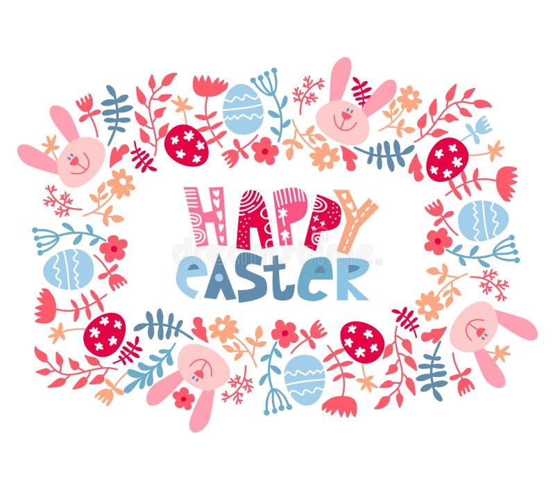 Wielkanocy rama z jajkami i kwiatami Wielkanocnej karty szablon z barwionymi jajkami Kwadratowa rama z Easter jajkami, kr?lik, kw ilustracja wektor
