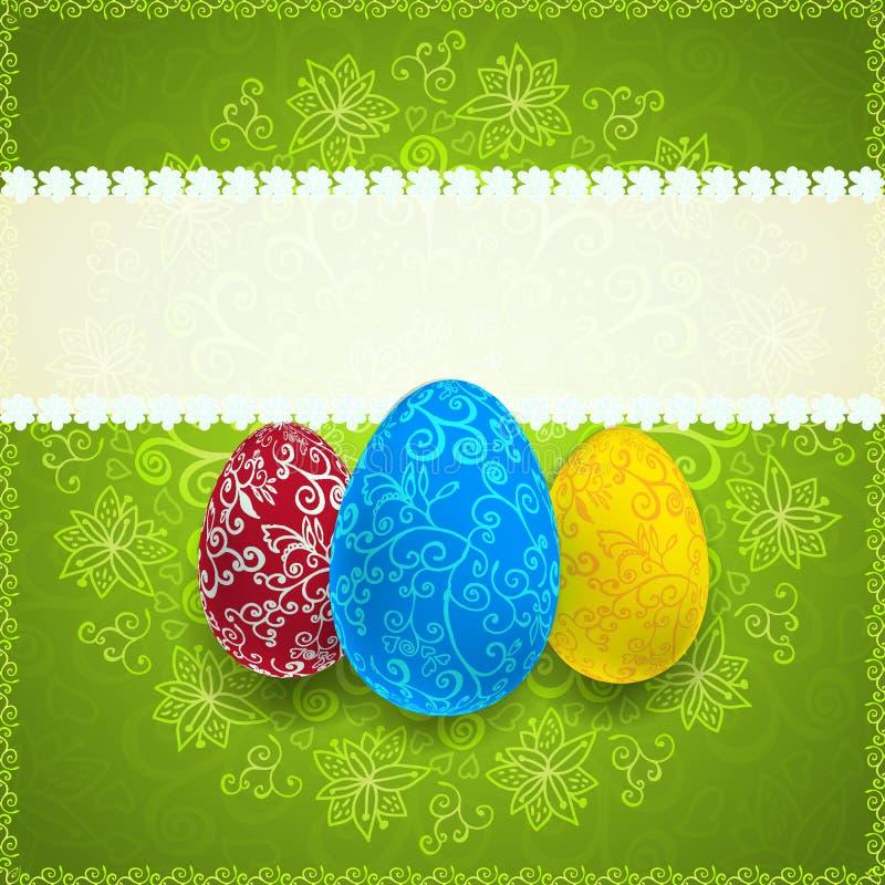Wielkanocy zielony tło z ornamentów jajkami ilustracji