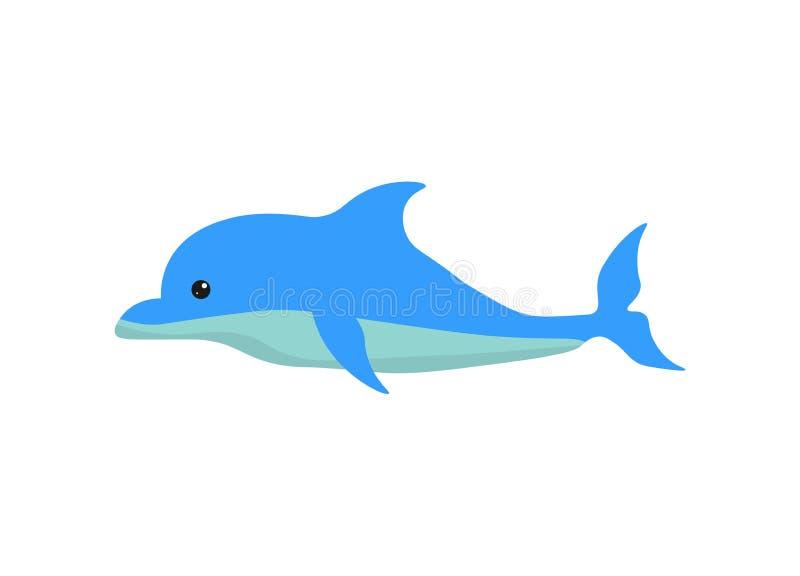 Wielki śliczny błękitny delfin ilustracja wektor
