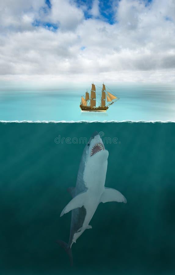 Wielki białego rekinu atak, Denny ocean zdjęcia stock