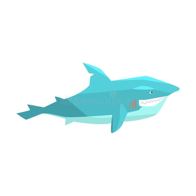 Wielki biały rekin Morskiej ryba utrzymanie W Ciepły Dennym Nawadnia postać z kreskówki wektoru ilustracje ilustracji