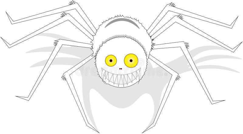 Wielki biały uśmiechnięty pająk z żółtymi oczami na odosobnionym tle, royalty ilustracja