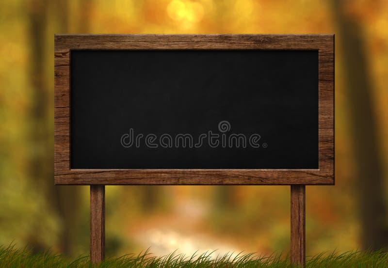 Wielki blackboard z jesień lasu tłem ilustracji
