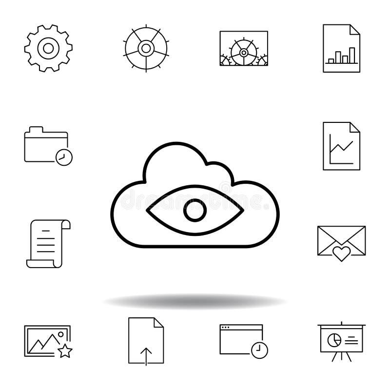 Wielki Brat chmury oka konturu ikona Szczegółowy set unigrid ilustracji multimedialne ikony Mo?e u?ywa? dla sieci, logo, mobilny  ilustracji