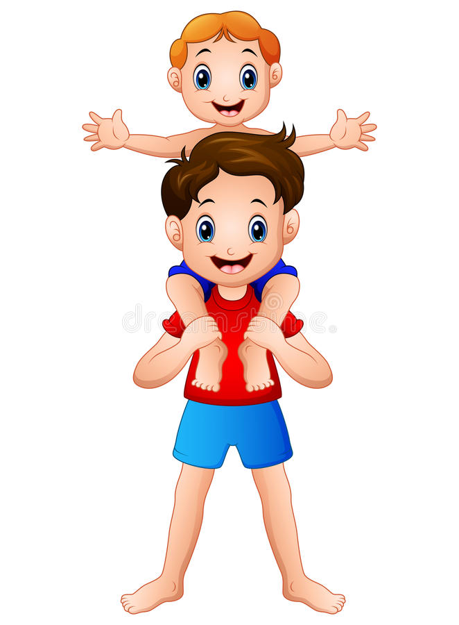 Wielki Brat daje jego młodszego brata piggyback przejażdżce ilustracja wektor