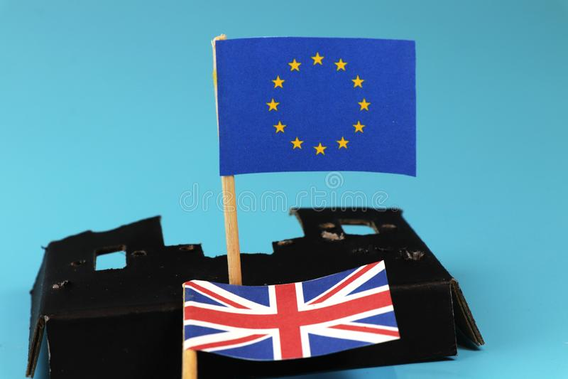 Wielki Britain opuszcza Europe zjednoczenie i zaczyna akcję na swój ręce obraz stock