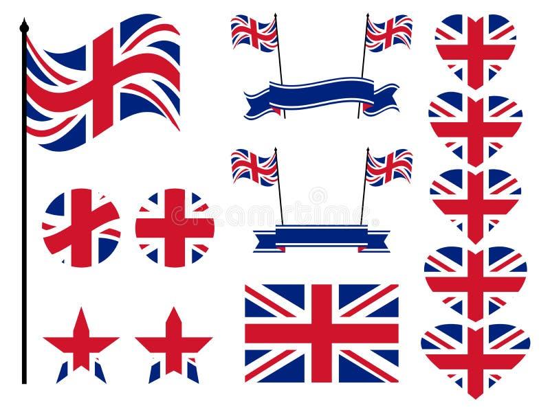 Wielki Brytania flaga set Kolekcja symbole, flaga w sercu wektor royalty ilustracja