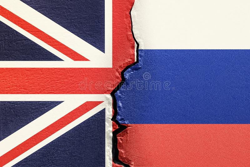 Wielki Brytania i Rosja, polityczny konfliktu pojęcie 3D renderi royalty ilustracja