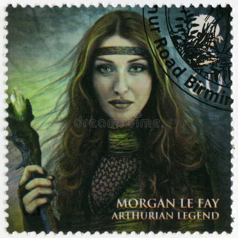 WIELKI BRYTANIA - 2011: pokazuje portret Morgan Le Dopasowywa, Arthurian legenda, serii Magiczni królestwo; l10a:dziedzina zdjęcie stock