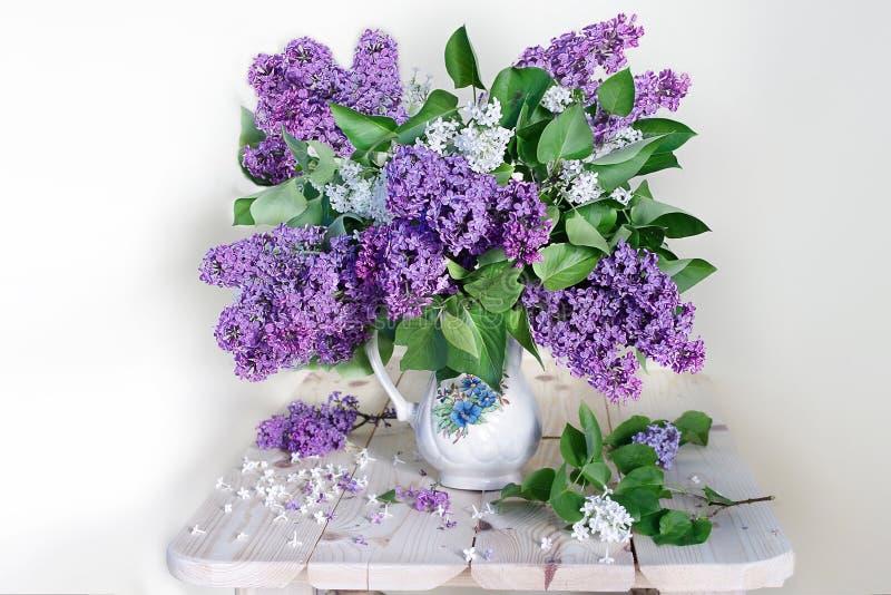 Wielki bukiet bez w białej wazie na białym tle wiosna nadal życia obraz royalty free