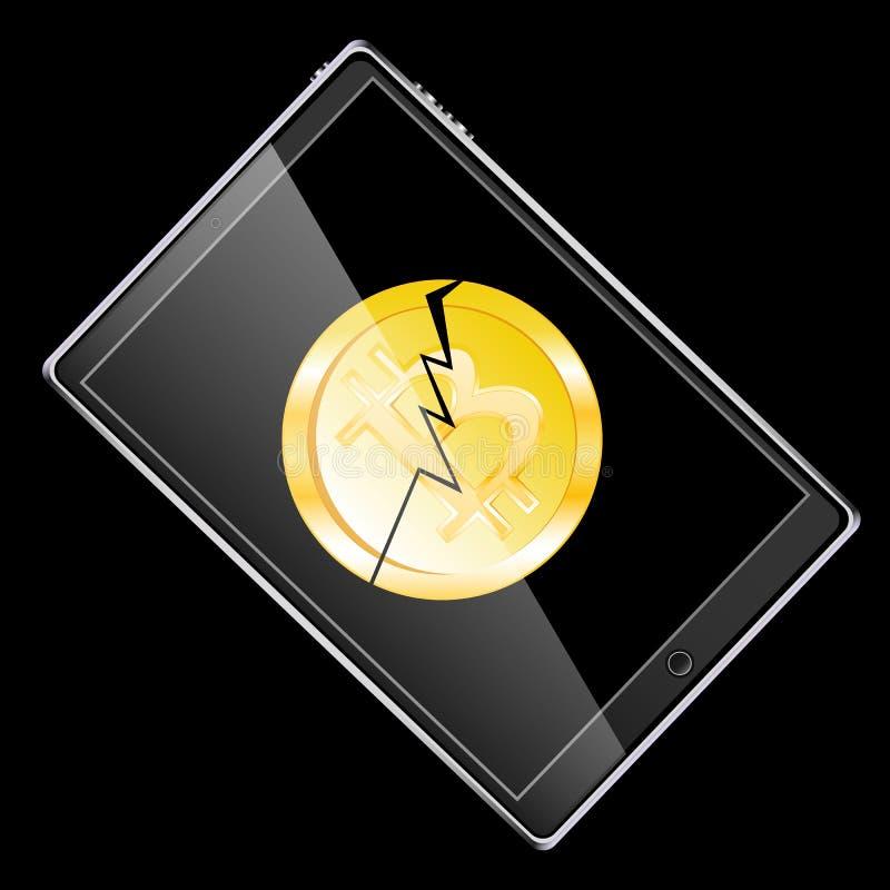 Wielki czarny realistyczny mobilny mądrze wyczulony cienki pastylka komputer obracający strona z łamaną monetą gryźć krakingowego ilustracji