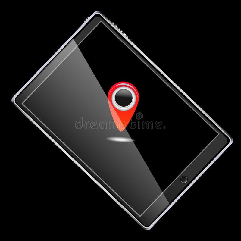 Wielki czarny realistyczny mobilny mądrze wyczulony szczupły pastylka komputer obracający na swój stronie z czerwoną etykietki ik royalty ilustracja